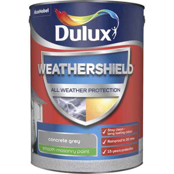 Dulux Weathershield All Weather Smooth Masonry Paint - Concrete Grey - 5L