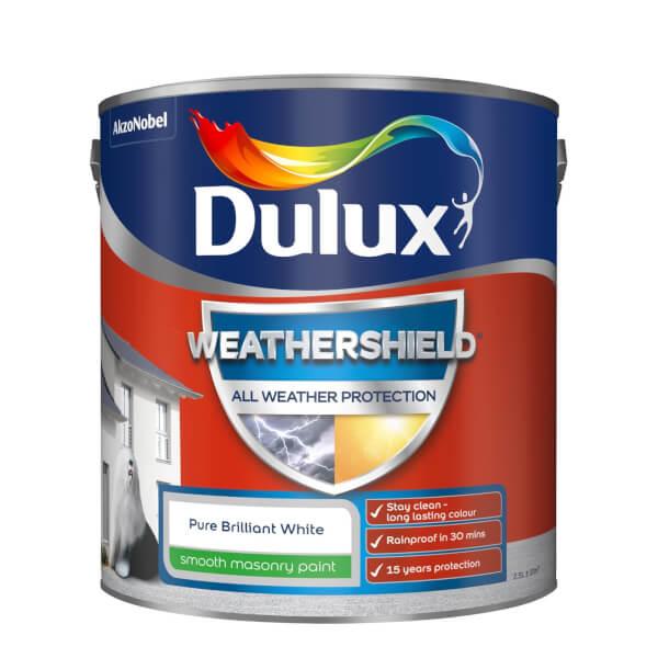 Dulux Weathershield All Weather Smooth Masonry Paint - Pure Brilliant White - 2.5L