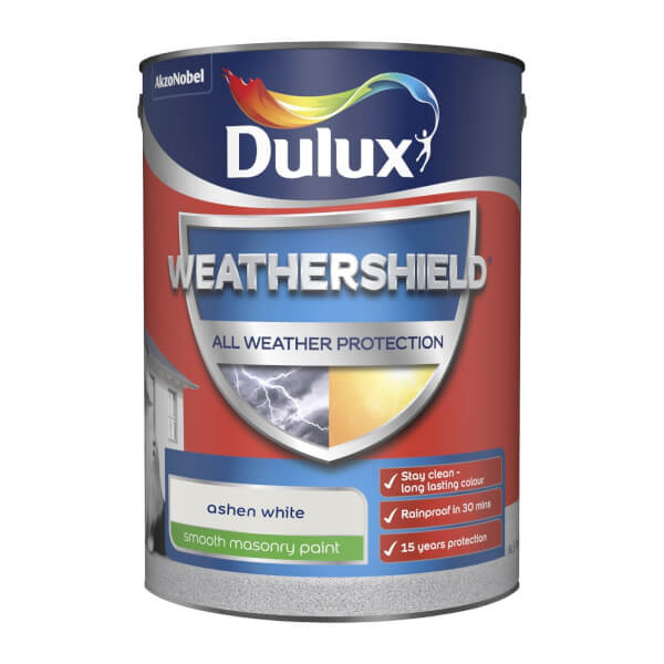 Dulux Weathershield Smooth Masonry Paint - Ashen White - 5L