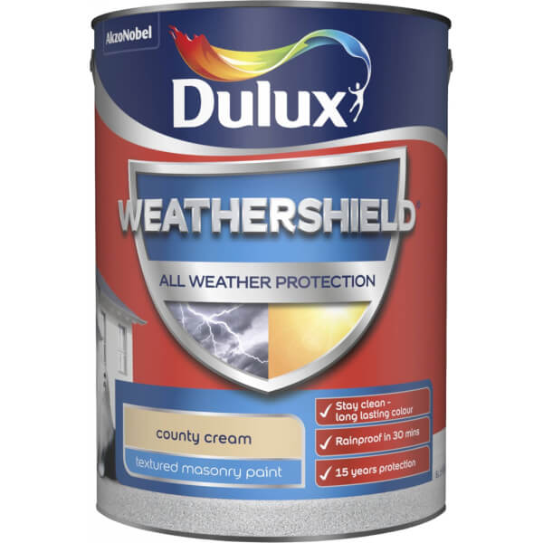 Dulux Weathershield All Weather Textured Masonry Paint - Country Cream - 5L