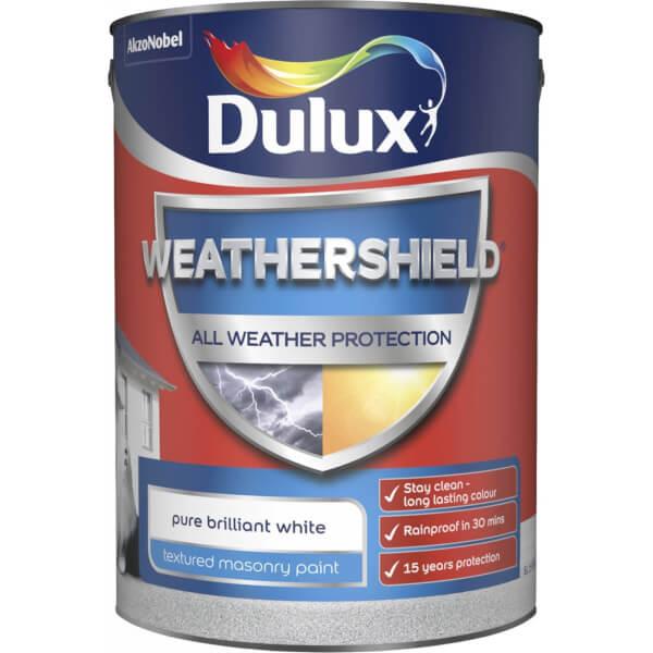 Dulux Weathershield All Weather Textured Masonry Paint - Pure Brilliant White - 5L