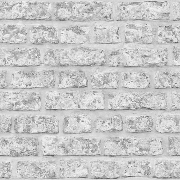 Arthouse Rustic Brick Smooth Grey Wallpaper