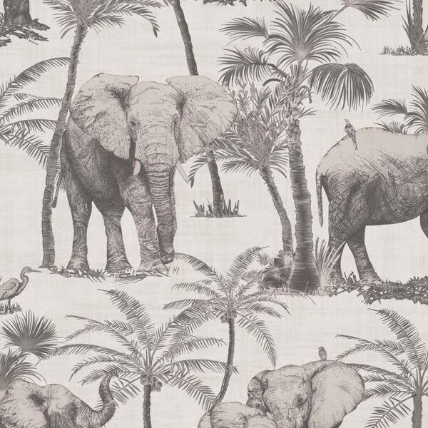 Arthouse Elephant Grove Jungle Embossed Metallic Charcoal Wallpaper