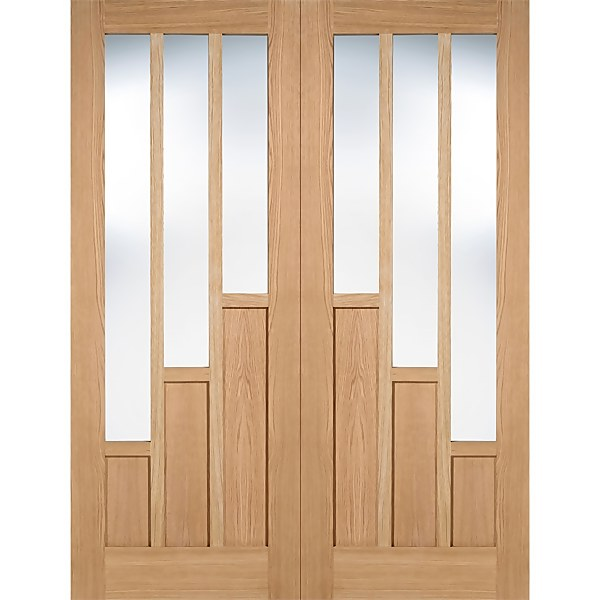 Coventry Internal Glazed Unfinished Oak 3 Lite Pair Doors - 1220 x 1981mm