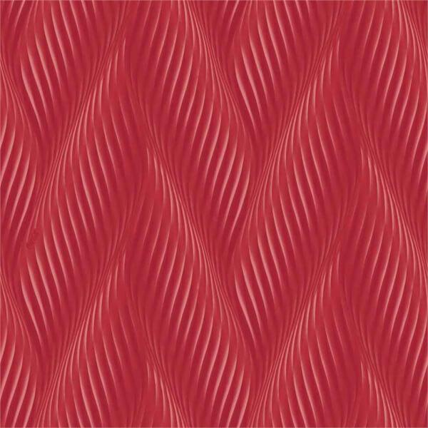 Belgravia Decor Coca Cola Geometric Embossed Metallic Wave Red Wallpaper