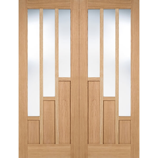 Coventry Internal Glazed Unfinished Oak 3 Lite Pair Doors - 1524 x 1981mm