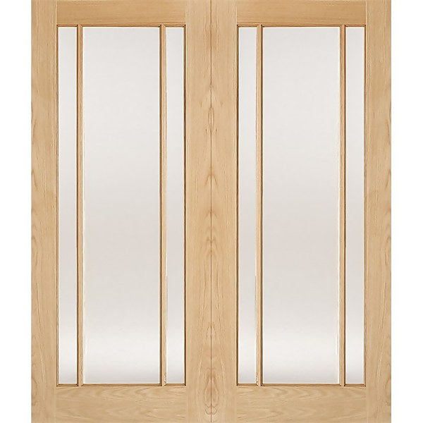 Lincoln Internal Glazed Unfinished Oak 3 Lite Pair Doors - 1524 x 1981mm