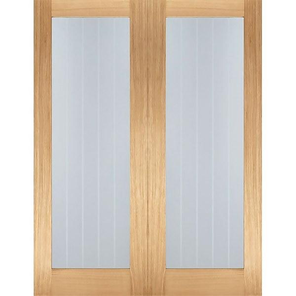 Mexicano Internal Glazed Unfinished Oak 1 Lite Pair Doors - 1220 x 1981mm