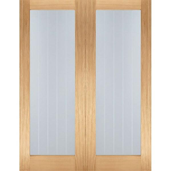 Mexicano Internal Glazed Unfinished Oak 1 Lite Pair Doors - 1524 x 1981mm