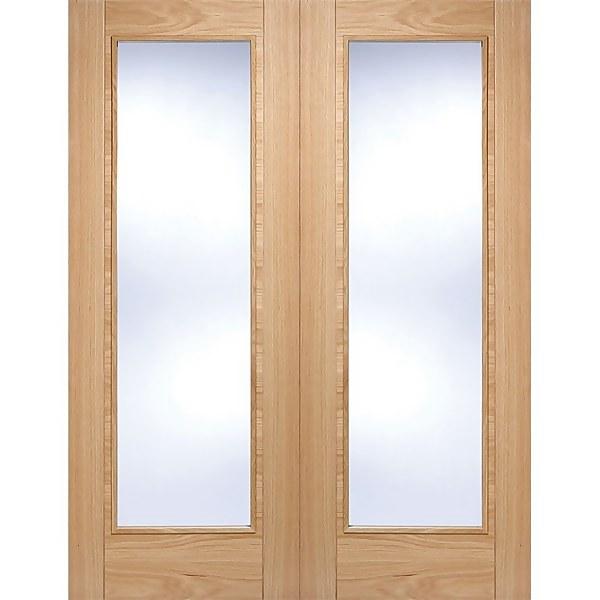 Vancouver Pattern 10 Internal Glazed Prefinished Oak 1 Lite Pair Doors - 915 x 1981mm