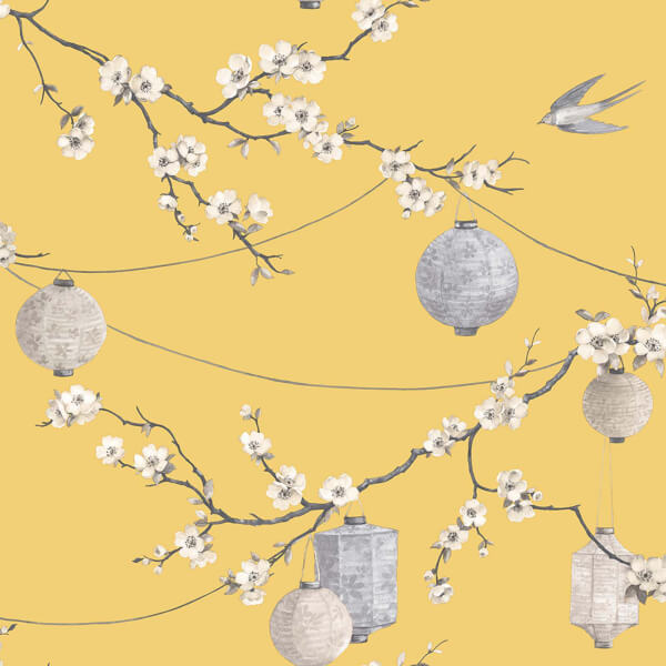 Arthouse Chinese Garden Floral Smooth Yellow Wallpaper