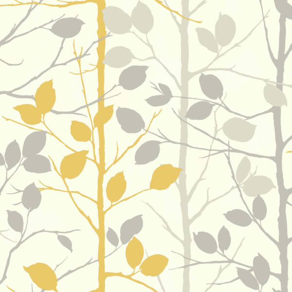 Arthouse Woodland Tree Smooth Grey and Yellow Wallpaper