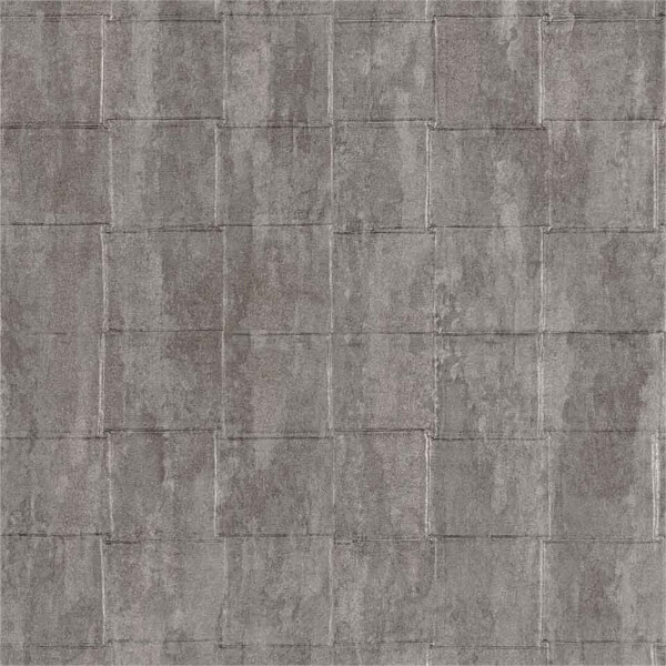 Belgravia Decor Coca Cola Tile Embossed Metallic Gunmetal Silver Wallpaper