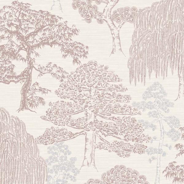 Arthouse Meili Trees Embossed Metallic Glitter Rose Gold Wallpaper