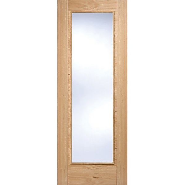 Vancouver Pattern 10 Internal Glazed Prefinished Oak 1 Lite Fire Door - 762 x 1981mm