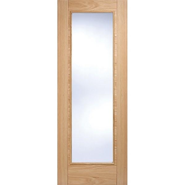 Vancouver Pattern 10 Internal Glazed Prefinished Oak 1 Lite Fire Door - 838 x 1981mm