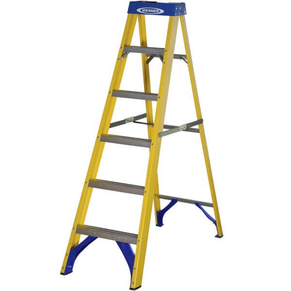 Werner Fibreglass Step Ladder - 6 Tread