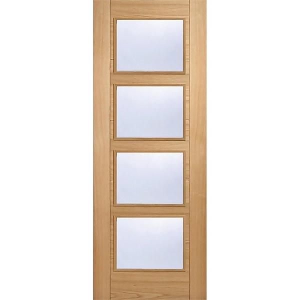 Vancouver Internal Glazed Prefinished Oak 4 Lite Fire Door - 762 x 1981mm