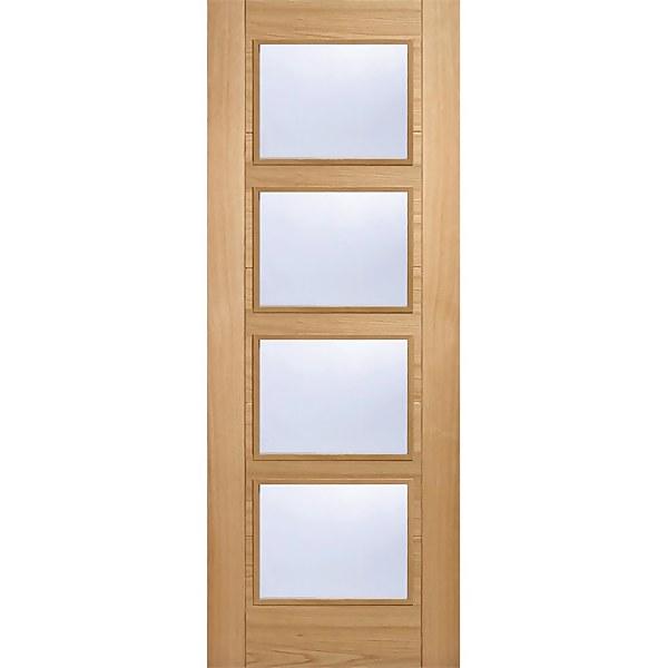 Vancouver Internal Glazed Prefinished Oak 4 Lite Fire Door - 838 x 1981mm
