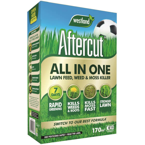 Aftercut All In One Lawn Feed, Weed and Moss Killer - 170m2