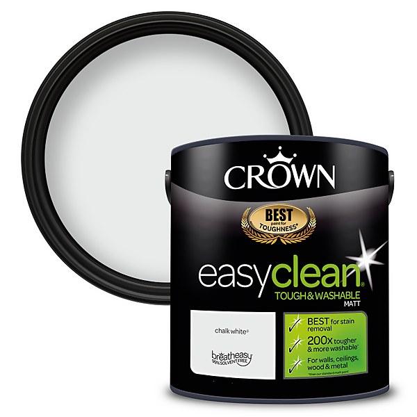 Crown Easyclean 200 Chalky White Matt Paint - 2.5L