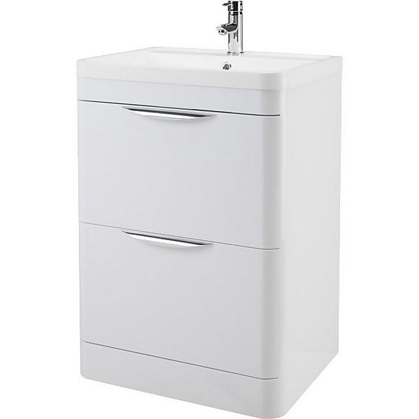 Balterley Wave 600mm Freestanding 2 Drawer Vanity and Basin - Gloss White