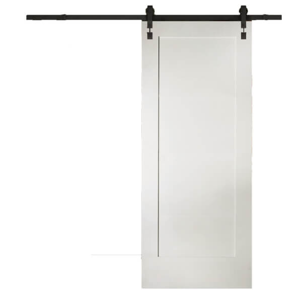 Shaker 1 Panel White Primed Sliding Barn Door with Industrial Track 2073 x 862mm