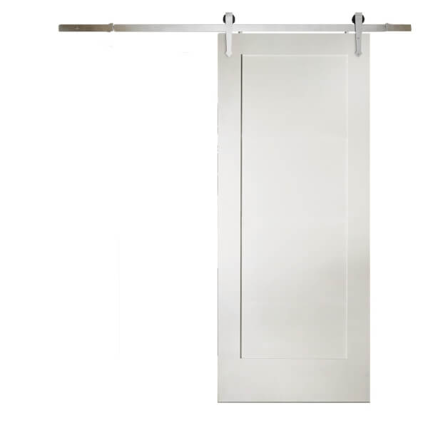 Shaker 1 Panel White Primed Sliding Barn Door with Provincial Track 2073 x 862mm