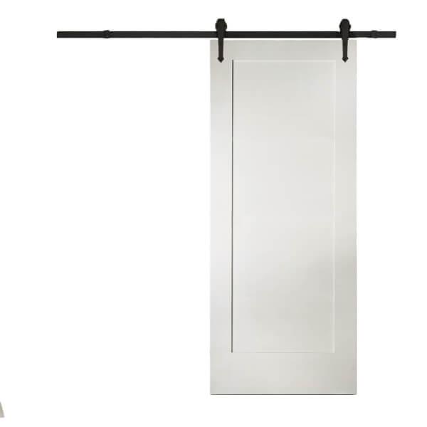 Shaker 1 Panel White Primed Sliding Barn Door with Urban Track 2073 x 862mm