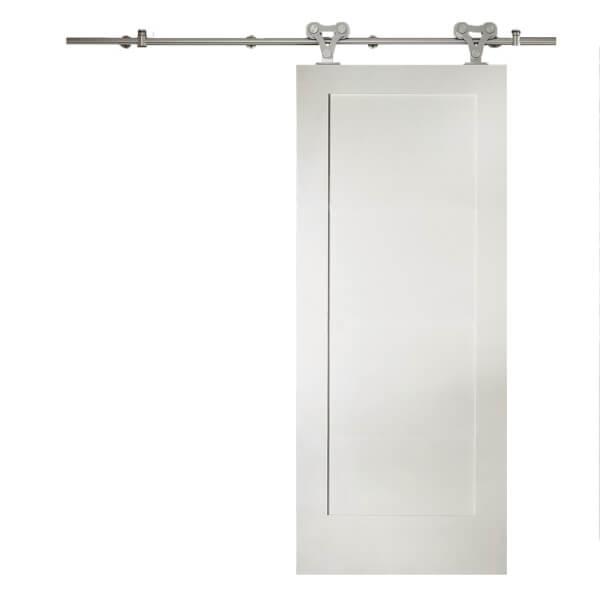 Shaker 1 Panel White Primed Sliding Barn Door with Elegant Track 2073 x 862mm