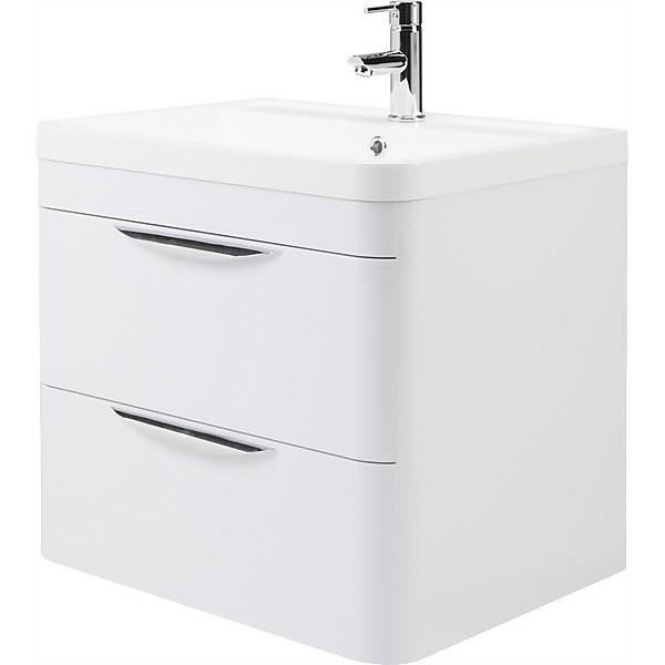 Balterley Wave 600mm Wall Hung 2 Drawer Vanity and Basin - Gloss White