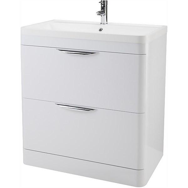 Balterley Wave 800mm Freestanding 2 Drawer Vanity and Basin - Gloss White