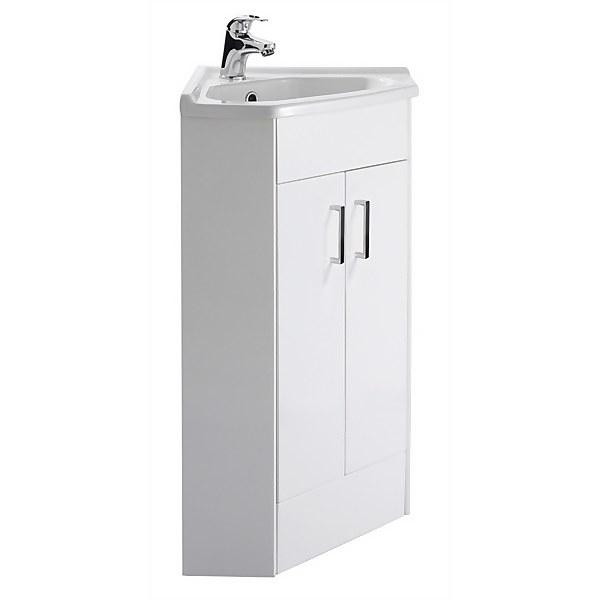Balterley Orbit 2 Door Corner Cabinet With Basin - Gloss White