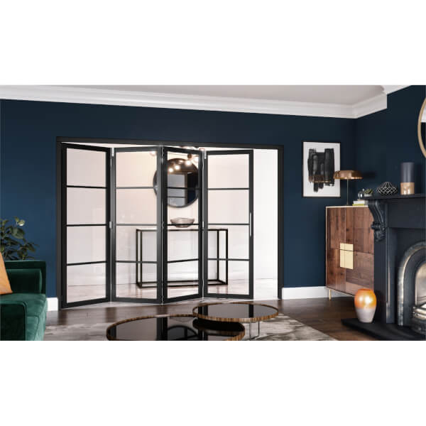 Slim-line Black 4 Light Clear Glazed Room Divider 4+0