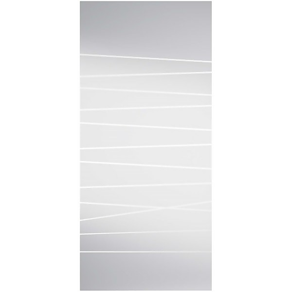 Abstract Frosted Sliding Glass Door with Cache Track and Pull Handle 2058 x 935mm