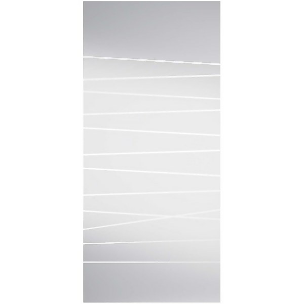 Abstract Frosted Sliding Glass Door with Noveau Track and Pull Handle 2058 x 935mm