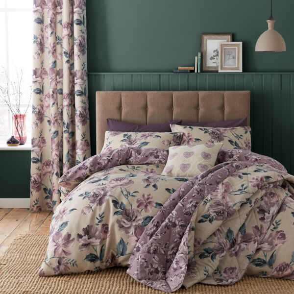 Catherine Lansfield Painted Floral Easy Care Double Duvet Set - Plum