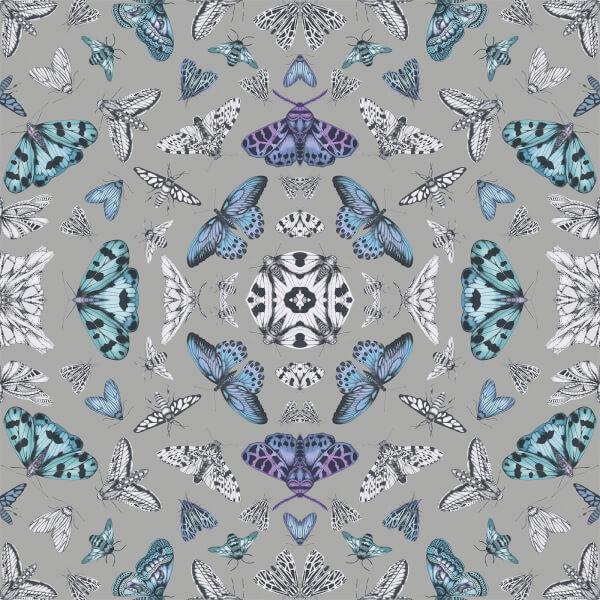 Arthouse Fantasia Glitter Bug Butterfly Smooth Metallic Glitter Multi Coloured Silver Wallpaper