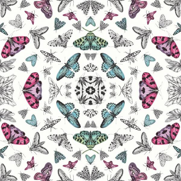 Arthouse Fantasia Glitter Bug Butterfly Smooth Metallic Glitter Multi Coloured White Wallpaper