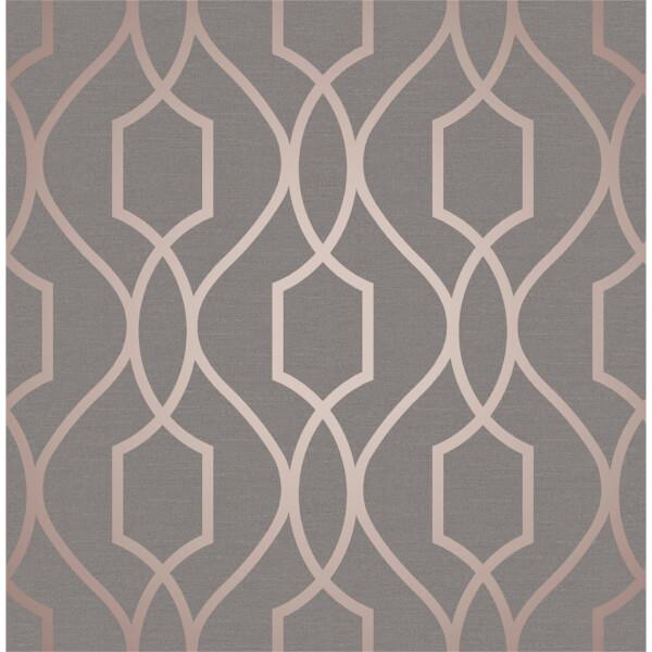 Fresco Apex Trellis Charcoal & Copper Wallpaper