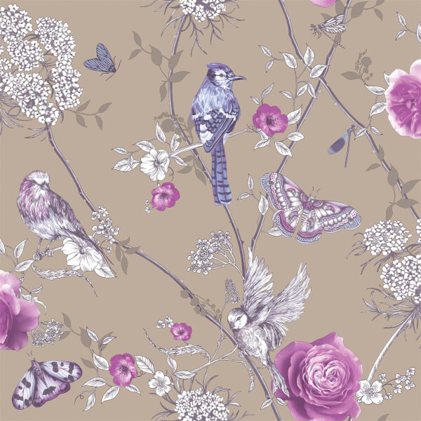Arthouse Paradise Garden Floral Smooth Glitter Mink Wallpaper