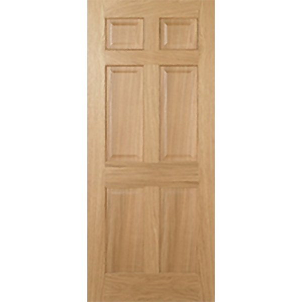 Regency Internal Prefinished Oak 6 Panel Fire Door - 762 x 1981mm