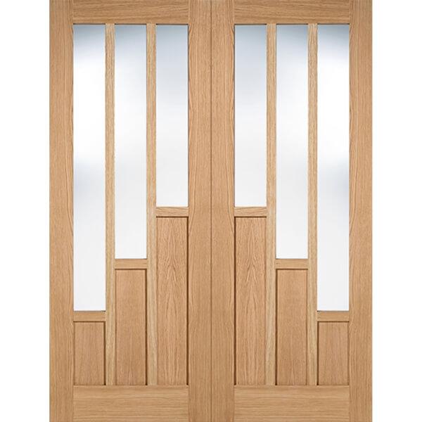 Coventry Internal Glazed Prefinished Oak 3 Lite Pair Doors - 1220 x 1981mm