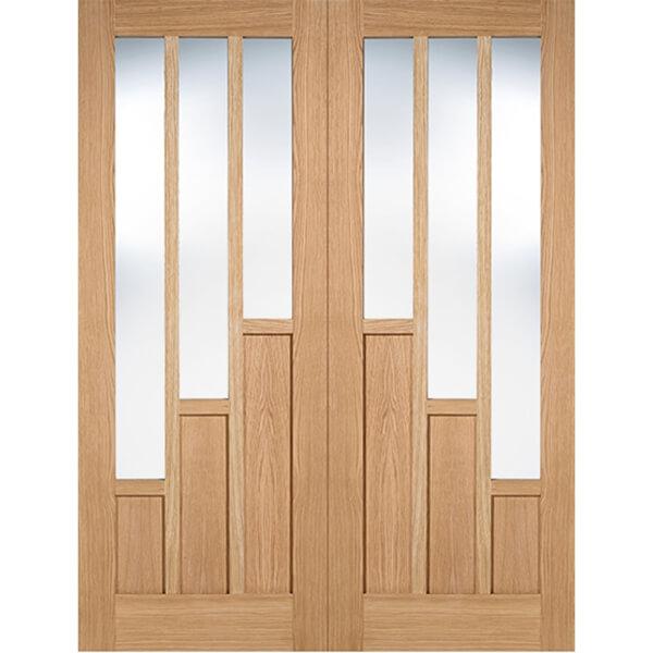 Coventry Internal Glazed Prefinished Oak 3 Lite Pair Doors - 1372 x 1981mm