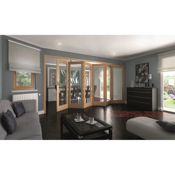 Shaker Oak 1 Light Clear Glazed Interior Folding Doors 6 x 0 2047 x 3771mm