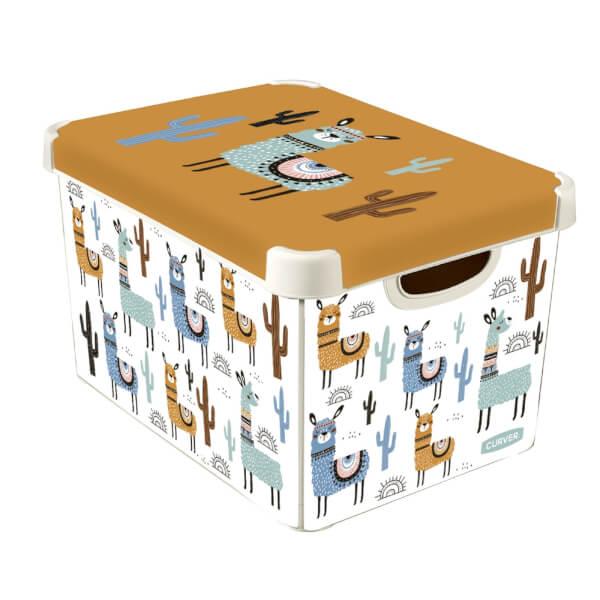 Curver Stockholm Llama Plastic Deco Storage Box - Multi-Coloured - 22L