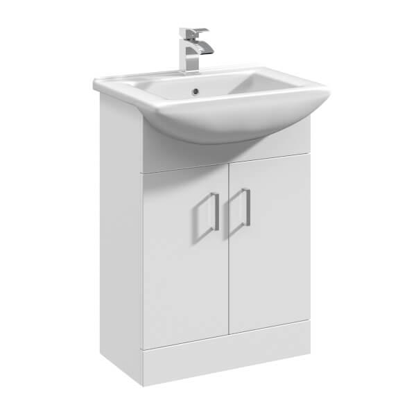 Balterley Orbit 550mm Freestanding Unit With Basin 2 - Gloss White