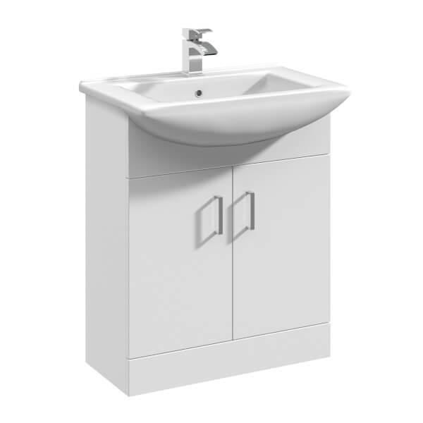 Balterley Orbit 650mm Freestanding Unit With Basin 2 - Gloss White