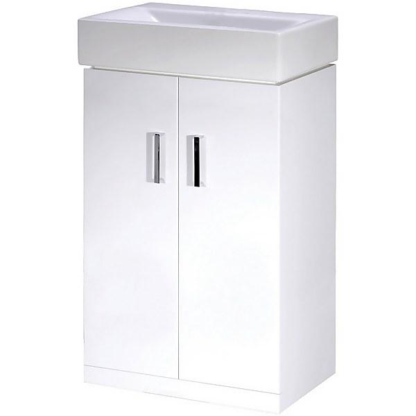 Balterley Orbit 450mm Freestanding 2 Door Unit With Basin - Gloss White
