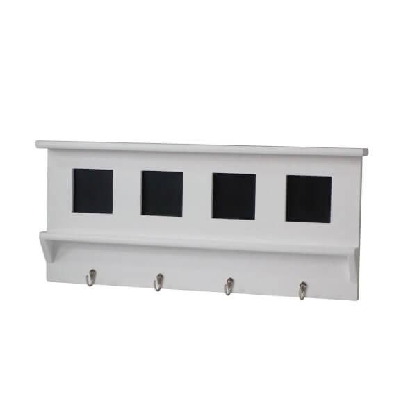 White Hook Rail - 4 Hooks and 4 Blackboards